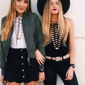 LF black lace up bodysuit